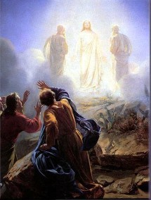 A painting of the brilliant transfiguration of Jesus on the mount